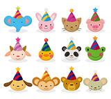 cartoon party animal head icon set