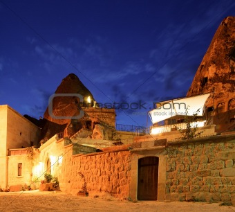 Cave Hotel at night Goreme Turkey
