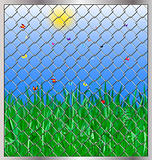 grass behind bars