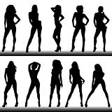 Set of girl silhouettes