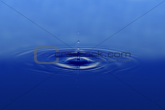 Pperfect water drop on blue background