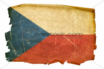 Czech Flag old, isolated on white background.