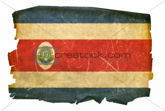 Costa Rica flag old, isolated on white background.