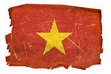 Vietnam Flag old, isolated on white background.
