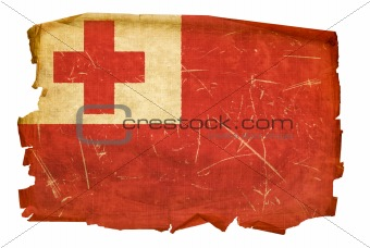 Tonga Flag old, isolated on white background.