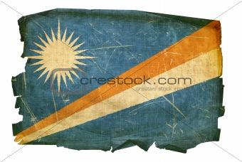 Marshall Islands Flag old, isolated on white background.
