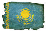 Kazakhstan Flag old, isolated on white background.