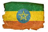 Ethiopia Flag old, isolated on white background.