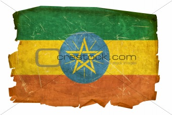 Ethiopia Flag old, isolated on white background.