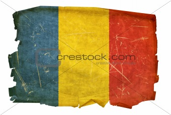 Romania Flag old, isolated on white background.