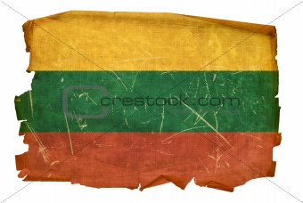 Lithuania Flag old, isolated on white background.