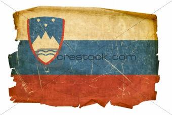 Slovenia Flag old, isolated on white background.