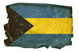 Bahamas Flag old, isolated on white background.