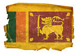 Sri Lanka Flag old, isolated on white background.