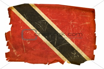 Trinidad and Tobago Flag old, isolated on white background.