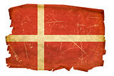 Danish Flag old, isolated on white background.