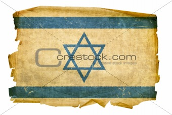 Israeli Flag old, isolated on white background.