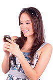 portrait of happy woman with mobile phone