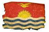 Kiribati Flag old, isolated on white background.