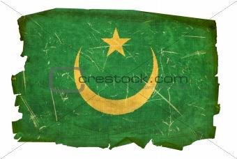 Mauritania Flag old, isolated on white background.