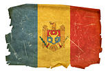 Moldova Flag old, isolated on white background.