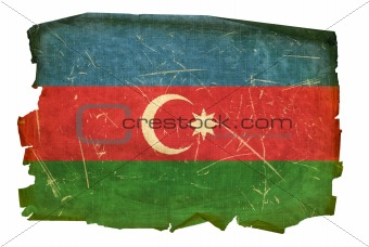 Azerbaijan Flag old, isolated on white background.