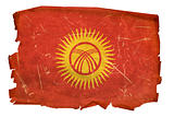 Kyrgyzstan Flag old, isolated on white background.
