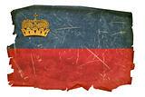 Liechtenstein Flag old, isolated on white background.