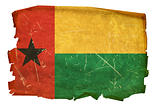 Guinea-Bissau Flag old, isolated on white background.