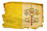 Vatican Flag old, isolated on white background.