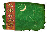 Turkmenistan Flag old, isolated on white background.