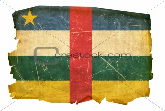 Central African Republic Flag old, isolated on white background.