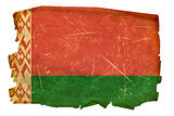 Belarus Flag old, isolated on white background.