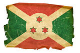 Burundi Flag old, isolated on white background.