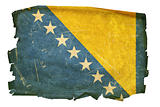 Bosnia and Herzegovina Flag old, isolated on white background.