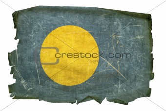 Palau Flag old, isolated on white background.