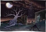 Black cat and cemetery in the night.