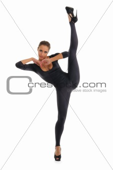 Young woman doing splits vertical