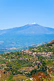 view on Etna and gardens in Sicily
