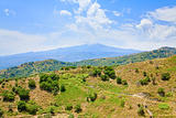 view on Etna and green sicilian hills in summer day