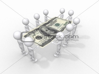 crowd of people holding one hundred dollar