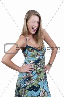 Beautiful Woman WInking