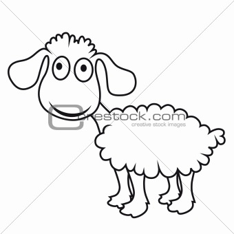 Cartoon sheep, vector lamb