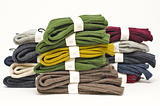 Stack of colourful fall or winter irish wool sweaters