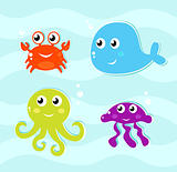 Cute water animals icons collection isolated on water surface