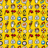 cartoon hand draw web icons seamless pattern with yellow background