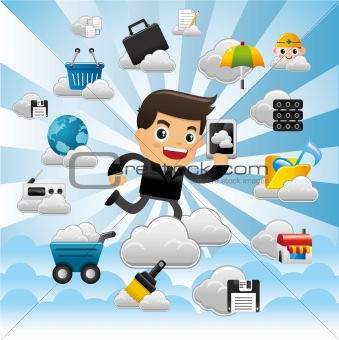 Cloud network,with business man hold pad.