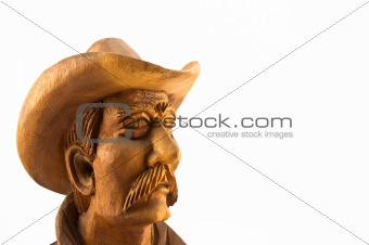 old cowboy wood carved