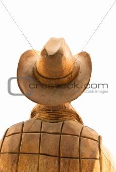 old cowboy wood carved