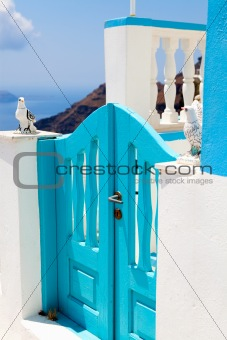 Old wooden gate in Santorini